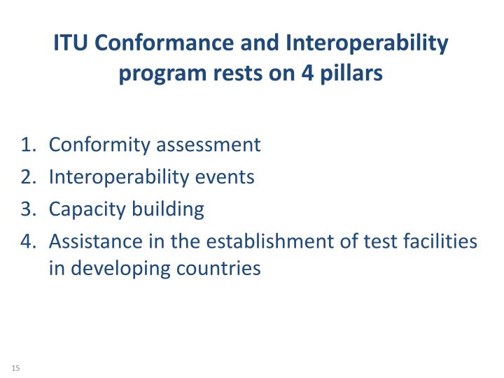 ITU Conformance and Interoperability program rests on 4 pillars