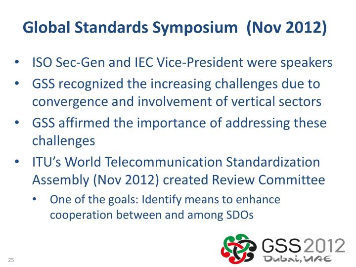 Global Standards Symposium  (Nov 2012)