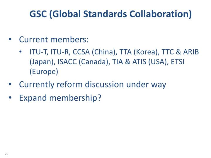 GSC (Global Standards Collaboration)