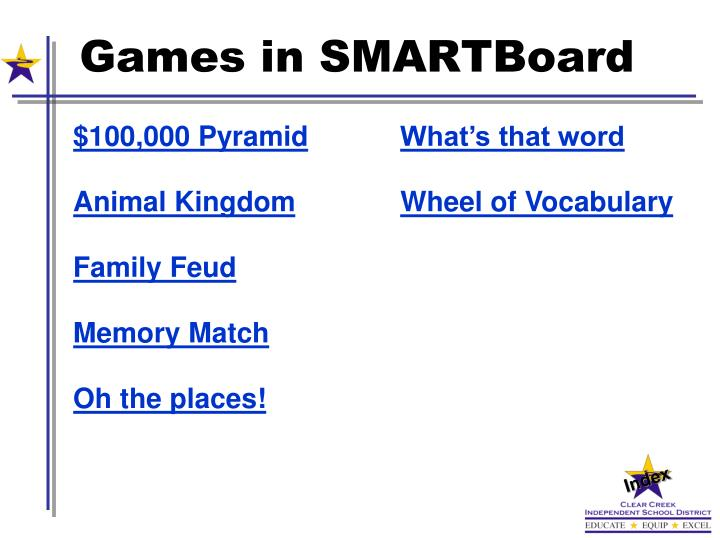 Games in SMARTBoard