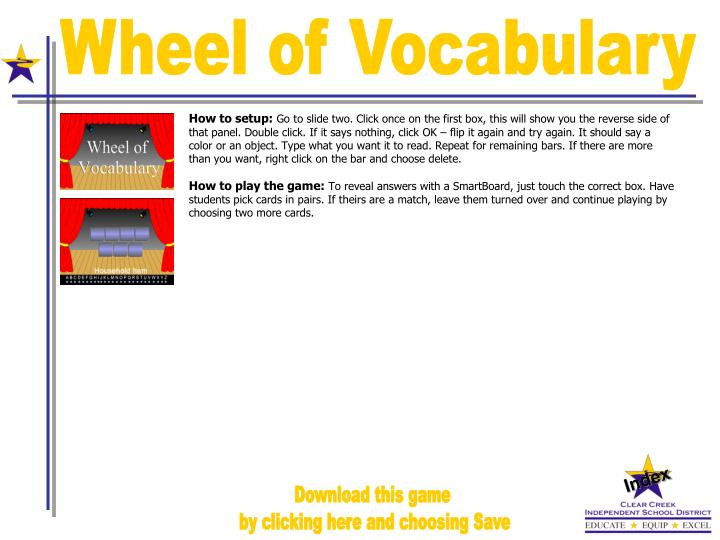 Wheel of Vocabulary