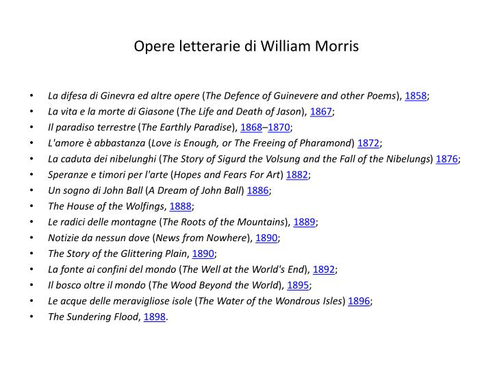 Opere letterarie di William Morris