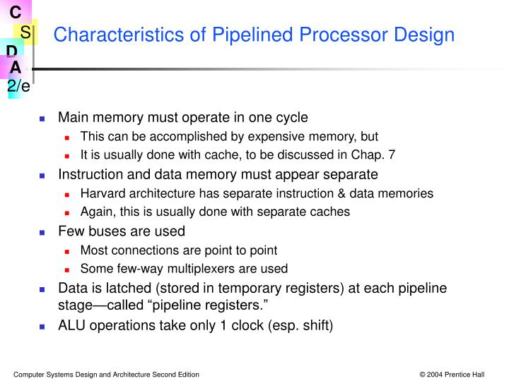 Characteristics of Pipelined Processor Design