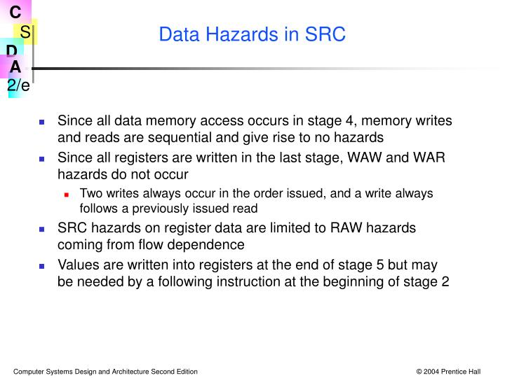 Data Hazards in SRC
