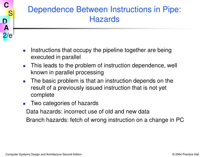 Dependence Between Instructions in Pipe: Hazards