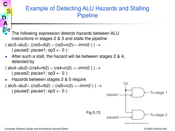 Example of Detecting ALU Hazards and Stalling Pipeline