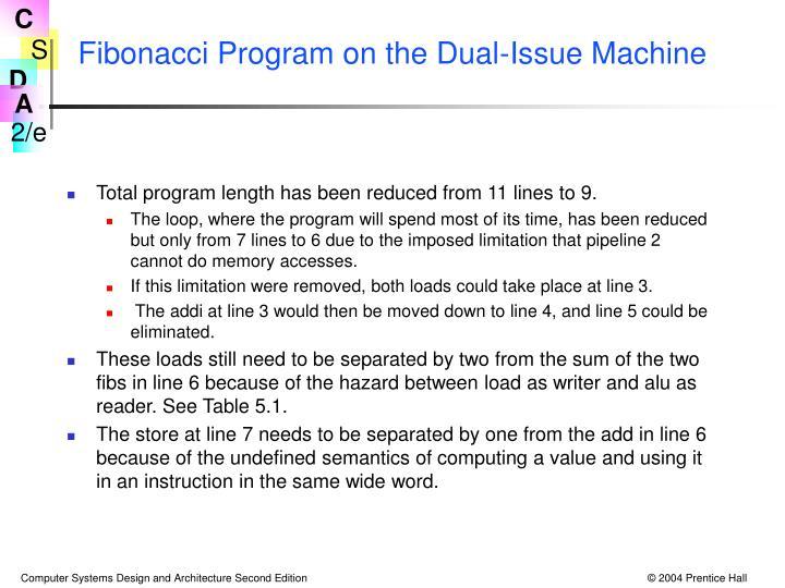 Fibonacci Program on the Dual-Issue Machine