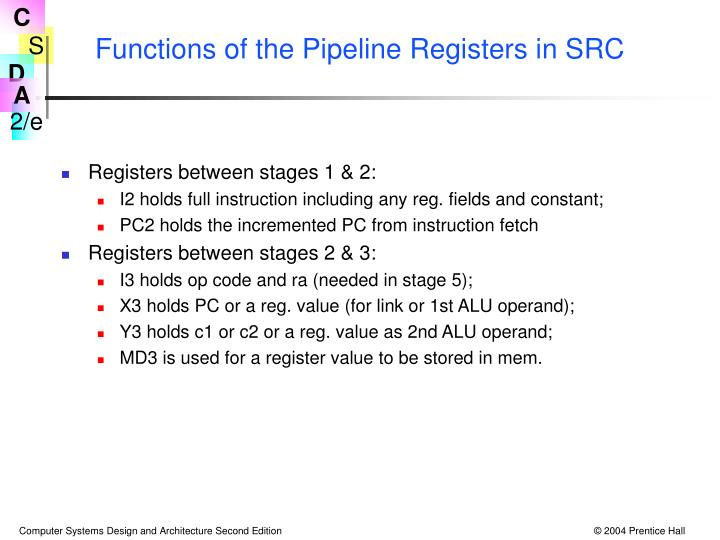 Functions of the Pipeline Registers in SRC