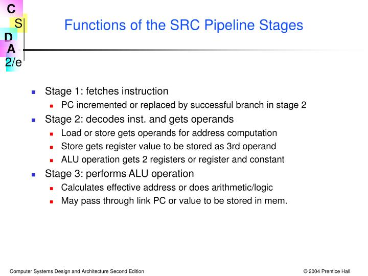 Functions of the SRC Pipeline Stages