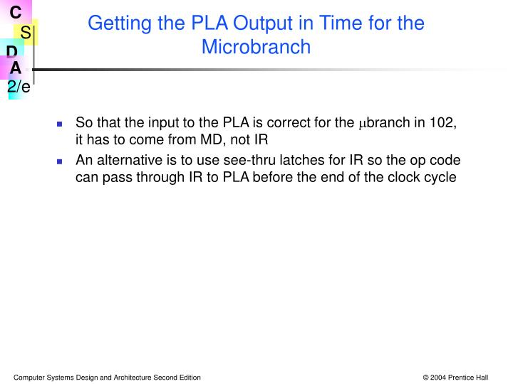 Getting the PLA Output in Time for the Microbranch