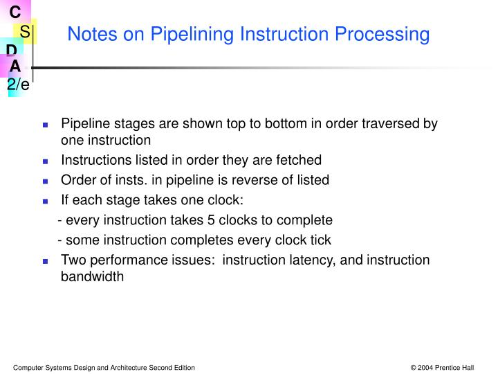 Notes on Pipelining Instruction Processing
