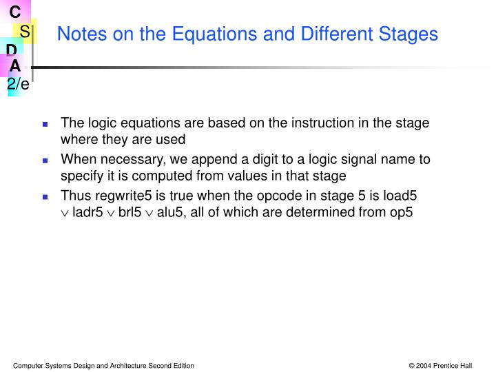 Notes on the Equations and Different Stages