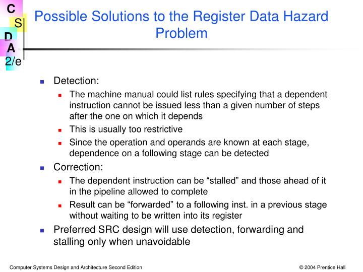 Possible Solutions to the Register Data Hazard Problem
