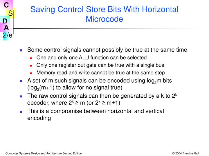 Saving Control Store Bits With Horizontal Microcode