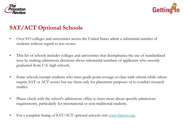 SAT/ACT Optional Schools