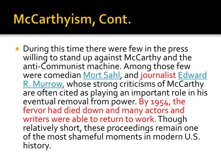 McCarthyism, Cont.