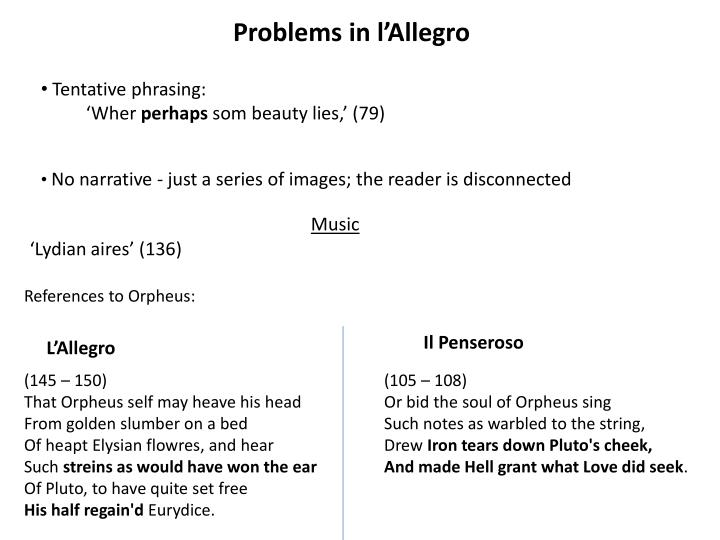 Problems in l'Allegro