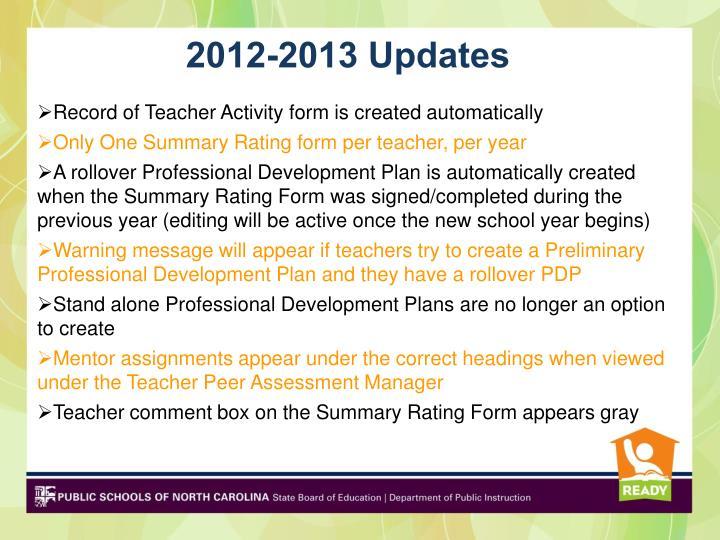 2012-2013 Updates