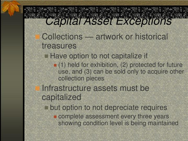Capital Asset Exceptions