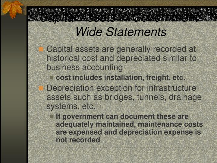 Capital Assets in Government-Wide Statements