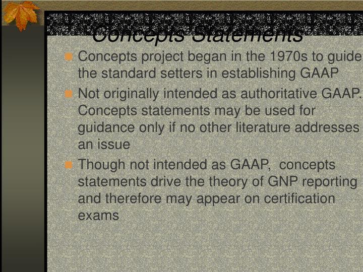 Concepts Statements