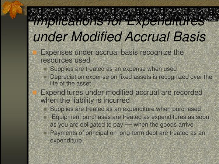 Implications for Expenditures under Modified Accrual Basis