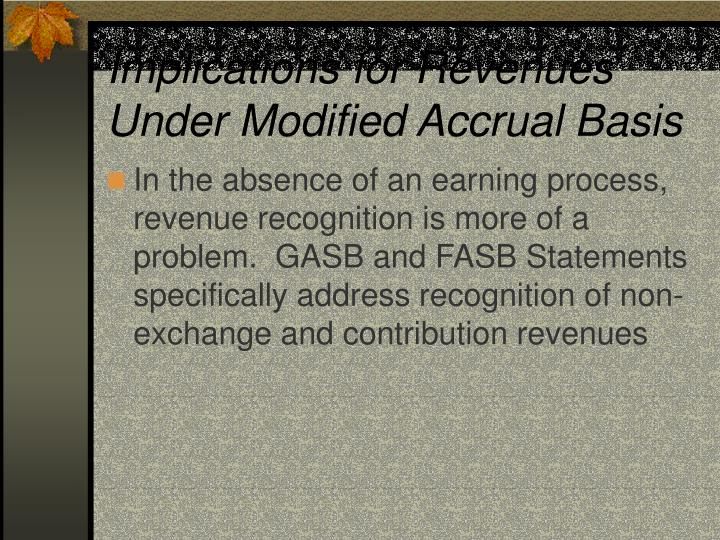 Implications for Revenues Under Modified Accrual Basis