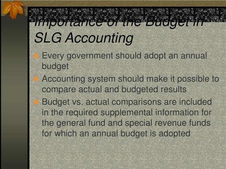 Importance of the Budget in SLG Accounting