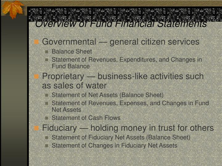 Overview of Fund Financial Statements
