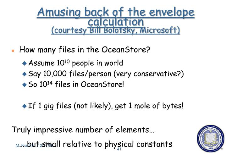 Amusing back of the envelope calculation