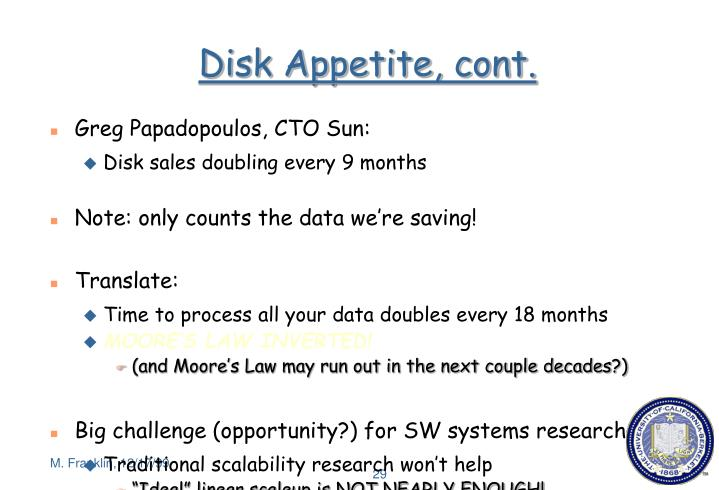 Disk Appetite, cont.