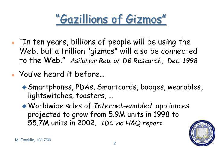 """Gazillions of Gizmos"""