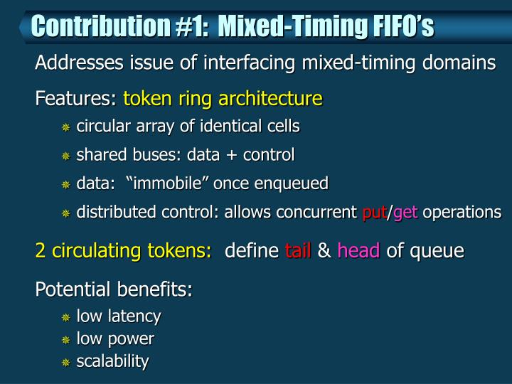 Contribution #1:  Mixed-Timing FIFO's