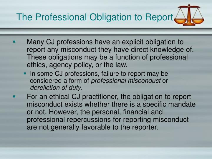 The professional obligation to report