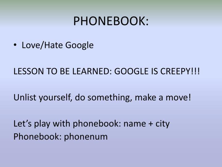 PHONEBOOK: