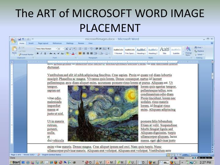 The ART of MICROSOFT WORD IMAGE PLACEMENT