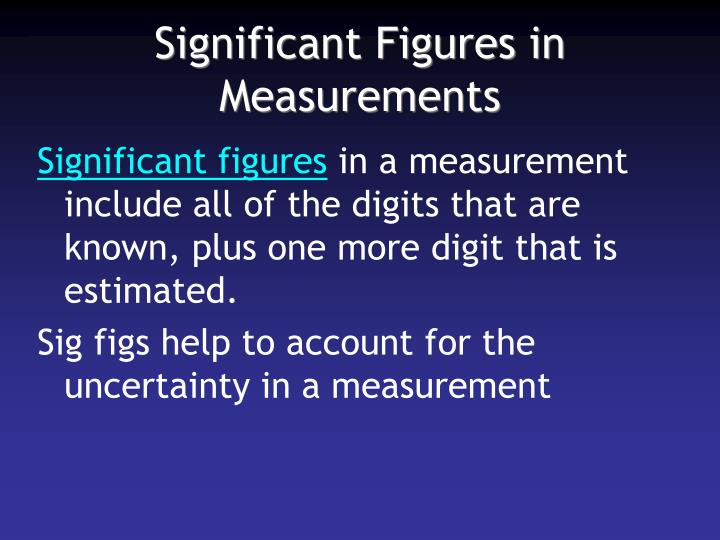 Significant Figures in Measurements