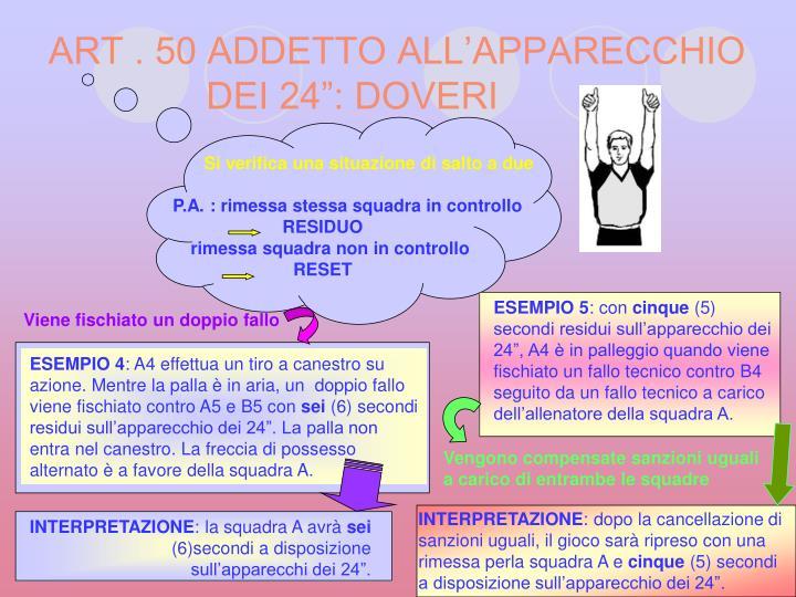 ART . 50 ADDETTO ALL'APPARECCHIO