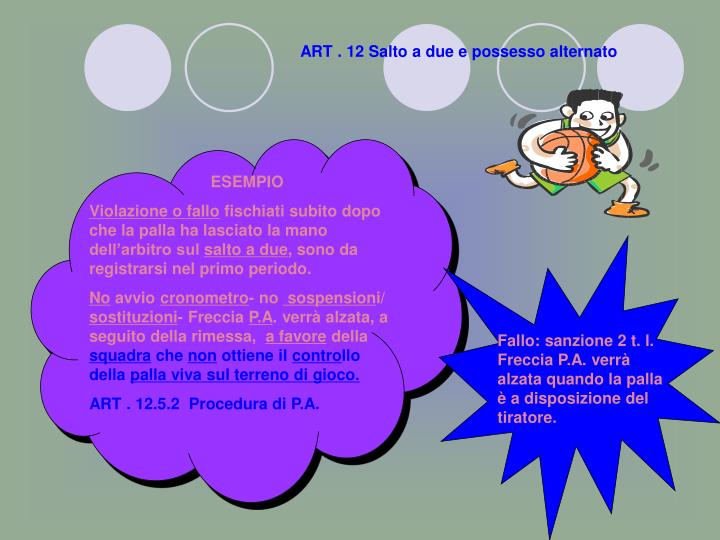 ART . 12 Salto a due e possesso alternato