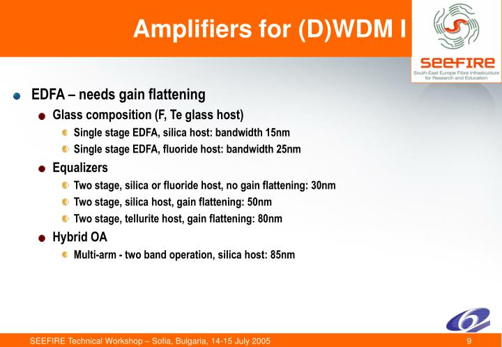 Amplifiers for (D)WDM