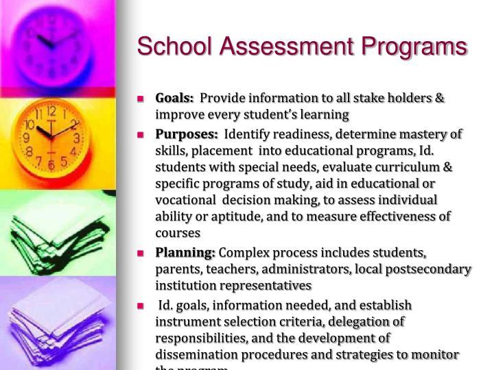 School Assessment Programs