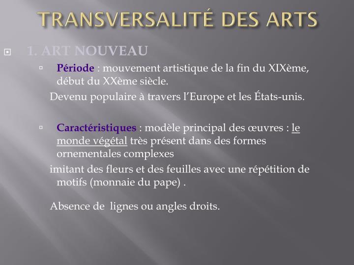 TRANSVERSALITÉ DES ARTS