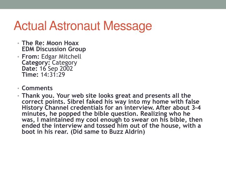 Actual Astronaut Message