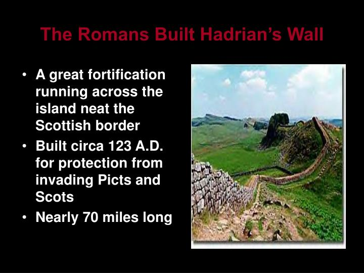 A great fortification running across the island neat the Scottish border