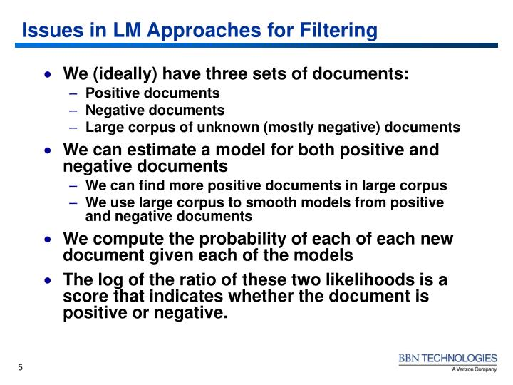Issues in LM Approaches for Filtering