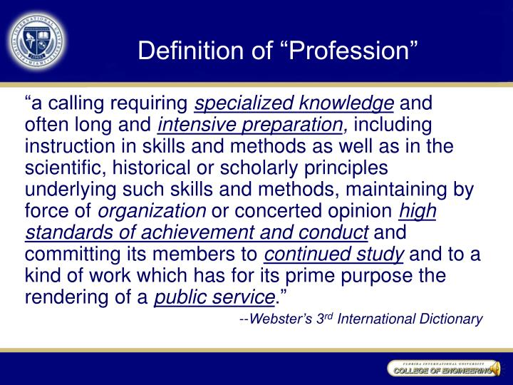 "Definition of ""Profession"""