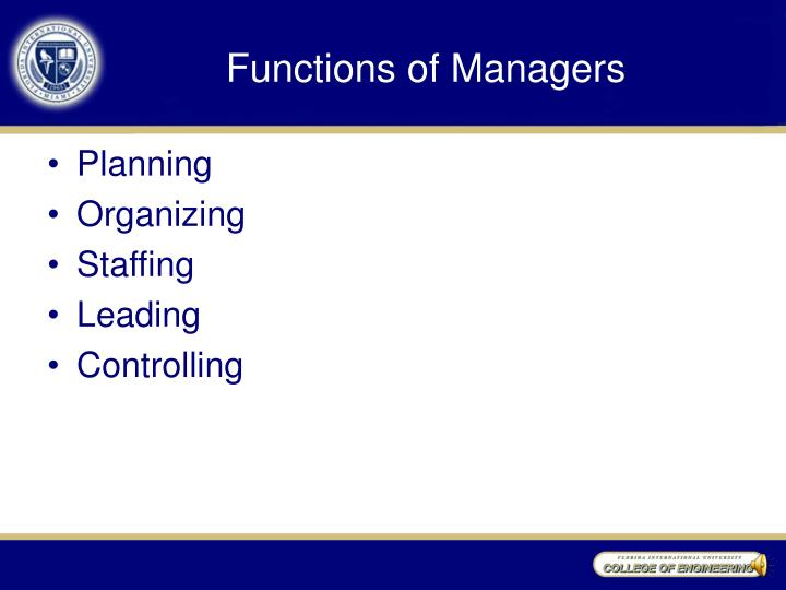 Functions of Managers