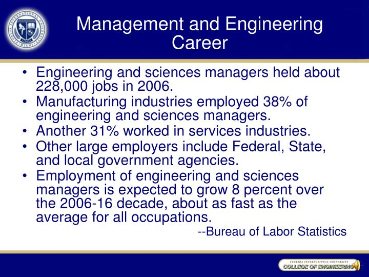 Management and Engineering Career