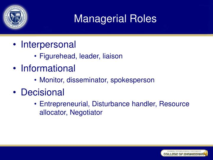 Managerial Roles