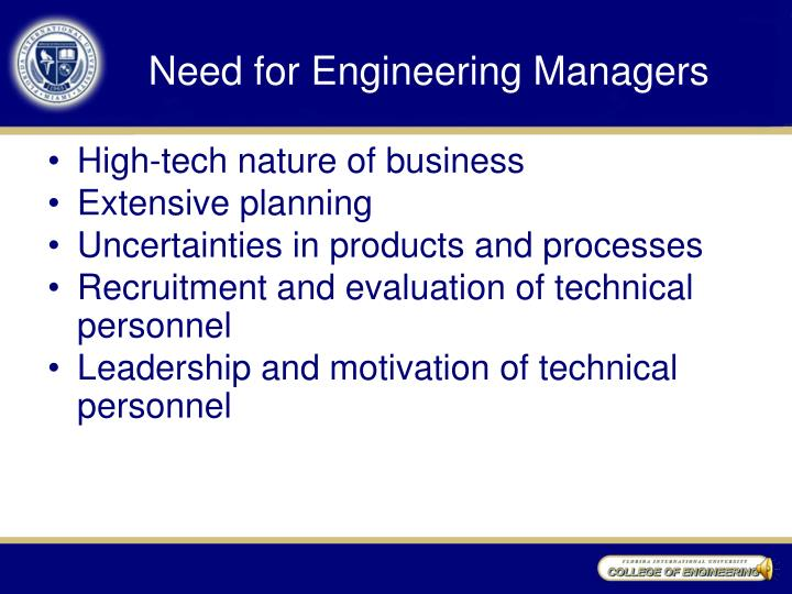Need for Engineering Managers